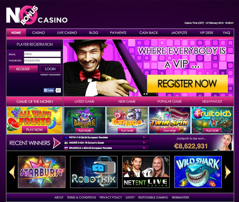 No Bonus Casino screenshot